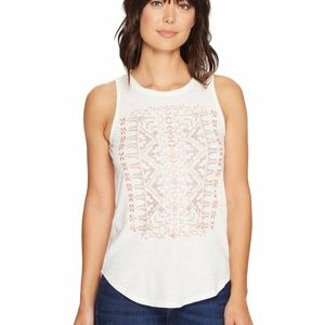 Lucky Brand Coral Embroidered Tank Top Ivory XL